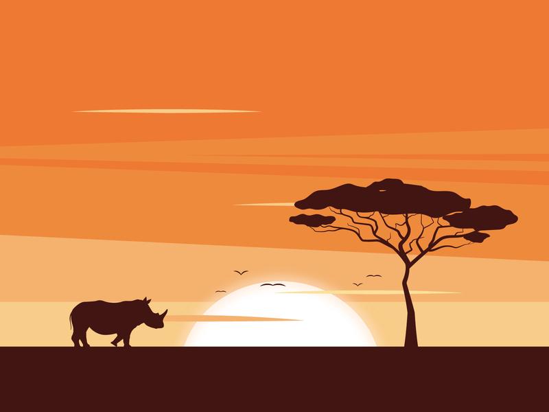 African sunrise design illustration sunrise shadows rhino animal africa