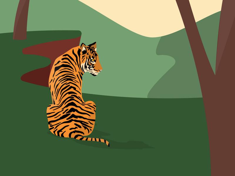 Tiger jungle tiger nature wildlife landscape design illustration