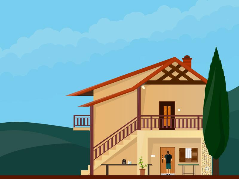 Weekend house (edit) graphic design nature gradient illustration flat design landscape