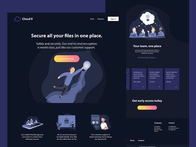 Web design for a SaaS cloud storage startup