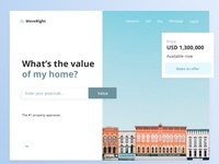 Landing page design for home valuation service