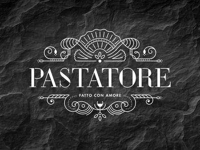 Pastatore ornaments serif stencil food italian logo design