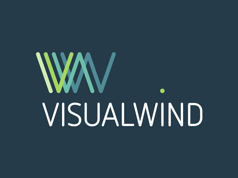 Visual Wind lines w logo design