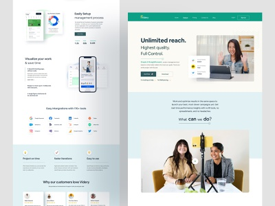 Videry Project Management Website 2021 homepagedesign illustration landingpage testimonials design web testimonial website design web design homepage design branding webdesign landing page homepage website turjadesign dribbble