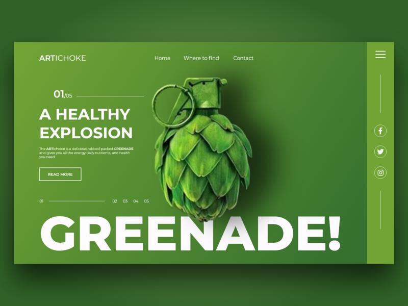 GREENADE -A Healthy Explosion greek green healthy artichoke explosion food greenade greenade ux typography minimal animation web flat vector illustration branding design