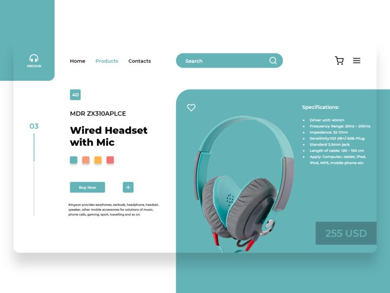 KINGSUN HEADFONE design2020 adobexd uiuxtrends usd headset products mic headfone animation web ui ux logo flat vector illustration branding design