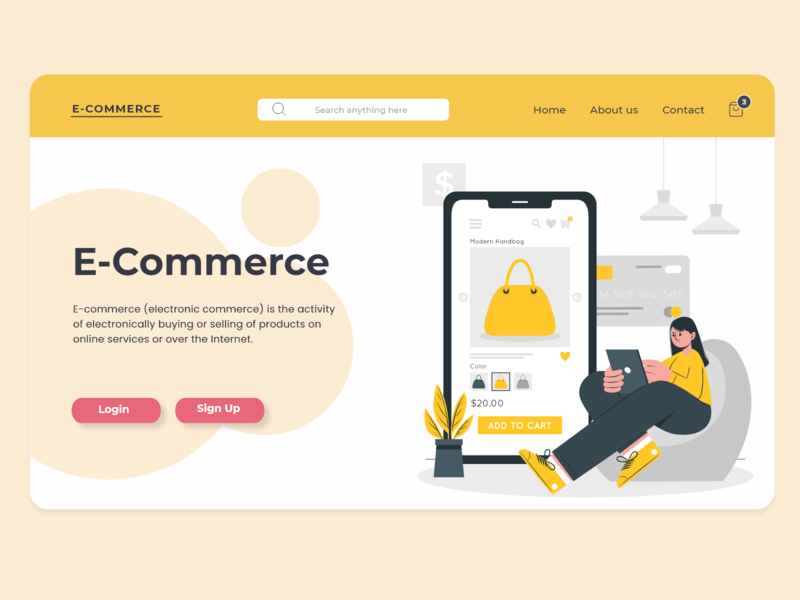 E-Commerce  Landing page ecommerce website animation typography ux ui flat vector illustration branding design