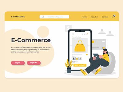 E-Commerce  Landing page ecommerce website animation typography ux ui flat vector illustration branding design