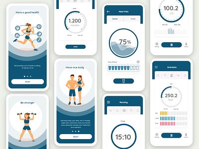 Fitness water break fitness app fitness health app web icon animation minimal typography logo ux illustration branding design