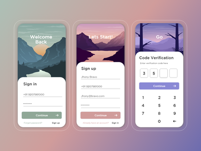 Lets login simple verification code signup sign in app animation typography logo flat ux vector illustration branding design