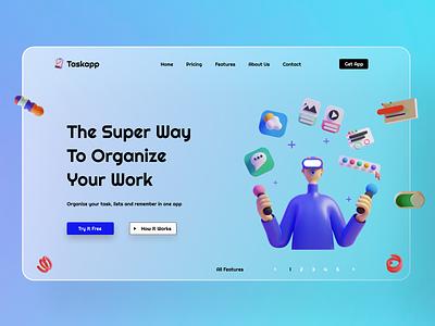 Taskapp task manager task management tasks ui glassmorphism 3d app task animation minimal typography logo ux vector illustration branding design