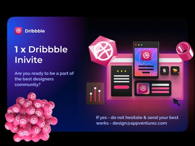 DRIBBBLE inivite work invitation creators dailyui adobe inspiration designers dribble newbees invite minimal ui typography flat logo vector ux illustration branding design