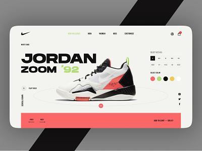 JORDON ZOOM' 92 japanese shoe design shop nike running color nike air 92 jordan nike minimal typography ui flat logo vector ux illustration branding design