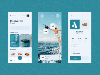 AR - Discover Sea Food in Mid of Oceans oceans augmented reality dribbble fish snails country food sea discover minimal typography flat logo vector ux ui illustration branding design