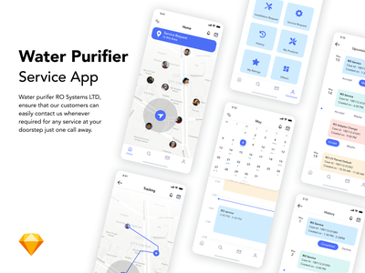 Water Purifier Service App schedule calender location sketch service app purifier water minimal typography flat logo vector ux ui illustration branding design