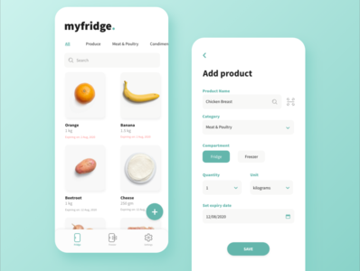 My Fridge - Pantry Tracking App minimal dailyui app design web ui