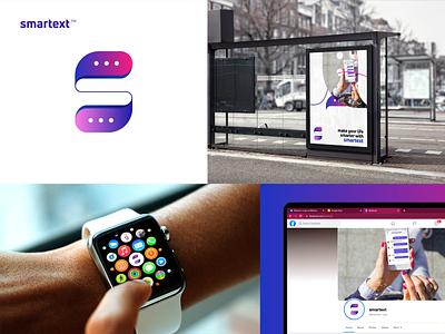 smartext - Brand Identity Design minimalist minimal best logo gradient modern messenger app chat message text smartext logo design logodesign logos logomark brand identity logo design logotype branding