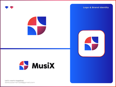 MusiX gradient unique minimalist minimal modern voiceover sound box sound audio song music logo design logodesign logos logomark brand identity logo design logotype branding