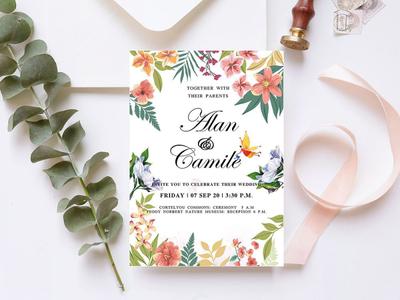 Free Floral Wedding Invitation Template wedding invitations wedding invitation wedding invite wedding card wedding branding freebies freebie