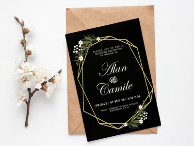 Free Black Floral Wedding Invitation Template design branding freebies freebie wedding design wedding invitations wedding invite wedding card wedding invitation wedding