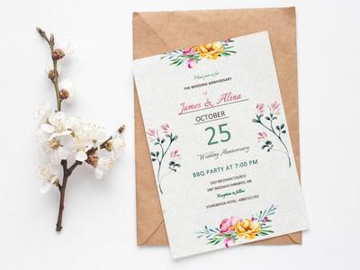 Free Simple Flower Wedding Invitation Template wedding invitations wedding invitation wedding invite wedding card wedding design branding freebies freebie