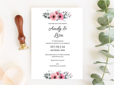 Free Printable Classic Wedding Invitation Template wedding invitations wedding invitation wedding invite wedding card wedding design freebies freebie