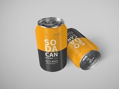 Free Soda Can Mockup Set PSD mockup design branding freebies freebie