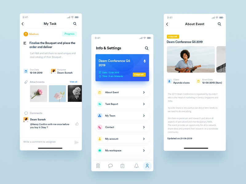 Free Event App UI Design Template by Juan Trigusto on Dribbble