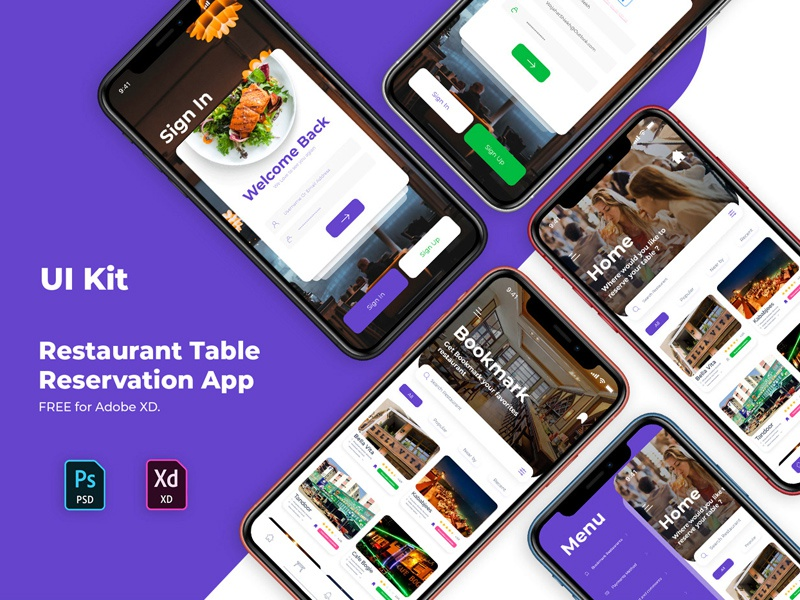 Free Restaurant Reservation Ui Kit  (Adobe Xd) ui design restaurant ui app ui design mobile ui app mobile app ui app ui design freebies freebie