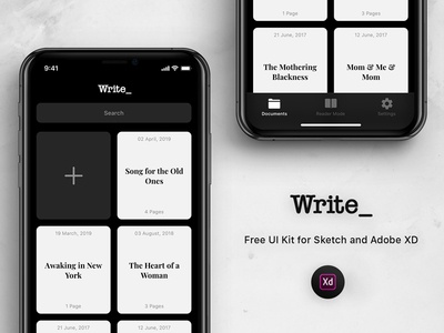 Free Writting App UI Kit (Adobe XD)