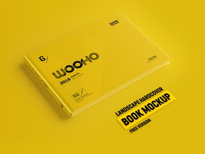 Free Horizontal Hardcover Book Mockup