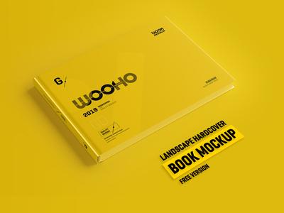 Free Horizontal Hardcover Book Mockup