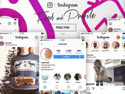 Free Instagram Feed Profile Mockups Templates