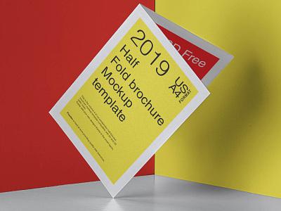Free Half Fold Brochure Mockup mockup template free mockup mockups mockup psd mockup design branding freebies freebie