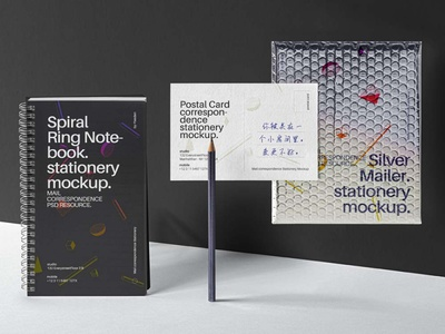 Free  Mailing Stationery Mockup Set mockup design branding freebies freebie
