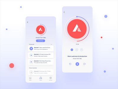 Podcast iOS app - concept design details page listing podcasts podcast music gradients shadows minimal ios user interface ux design concept design mobile mobile app app