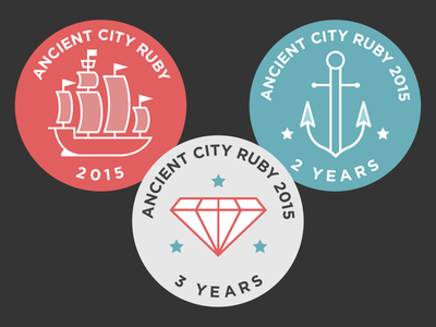 Ancient City Ruby 2015 Buttons hashrocket buttons anchor ship ruby acr