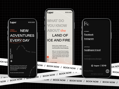 kaper travel | brand design | website launch 🏴 booking kaper ooze iceland hospitality identity branding website web landing landingpage travel