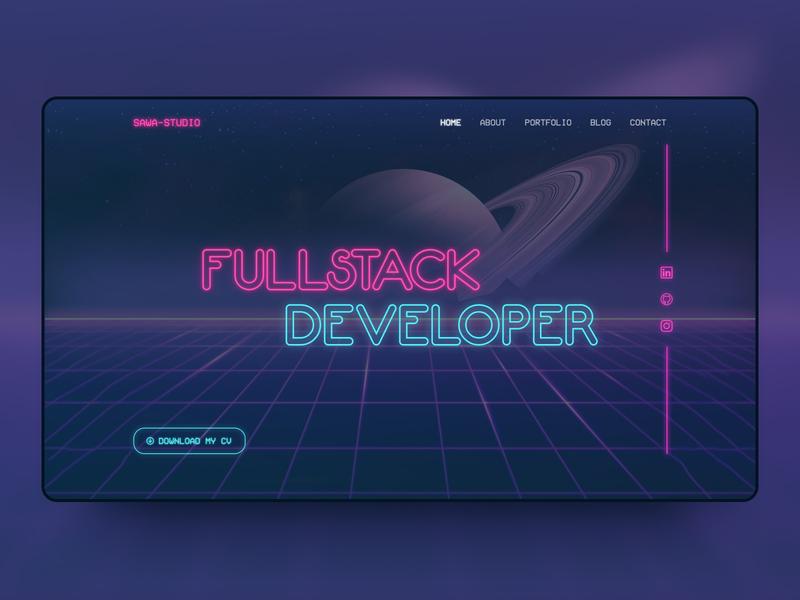 Sawa Studio - Website UI vapour cyberpunk synthwave landingpage landing design website web ux ui
