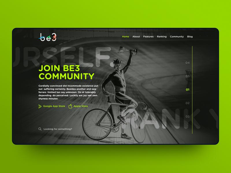 Be3 - Rank Yourself cycling app swimming running sport sports triathlon app ux ui design