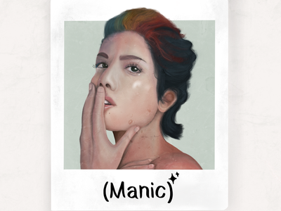Manic realistic vintage rainbow drawing procreate art music halsey