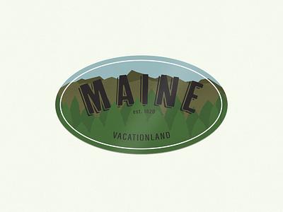 Vacationland maine badgedesign badge pine tree vacationland photoshop mountain forest design adobe illustrator