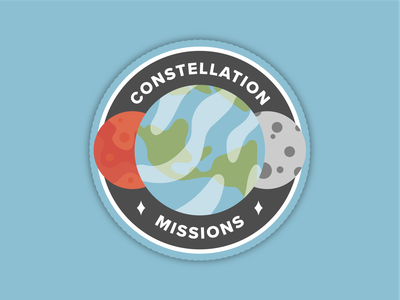 Constellation Program Missions Patch planet warm up space patch rebound dribbbleweeklywarmup