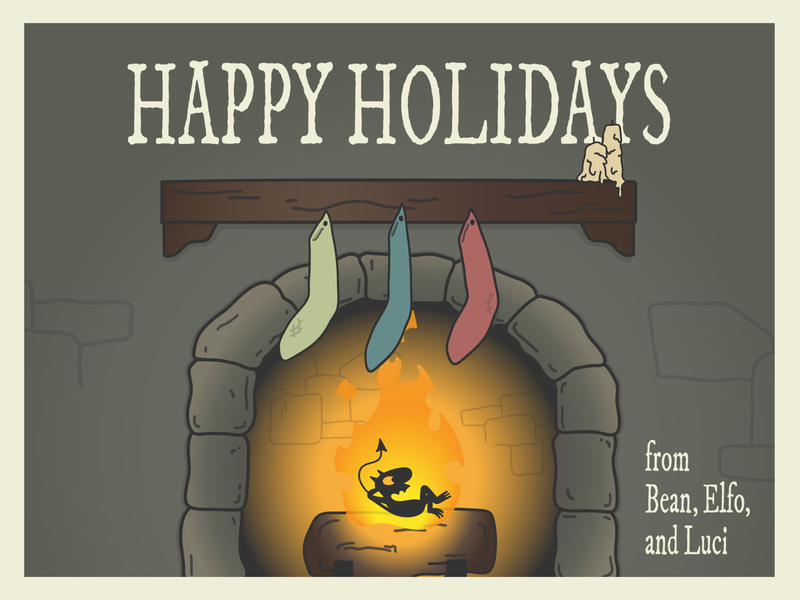 Disenchantment Holiday Card postcard warmup weekly warm-up holiday card adobe illustrator