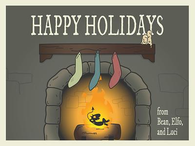 Disenchantment Holiday Card postcard warmup weekly warm-up holiday card adobe illustrator