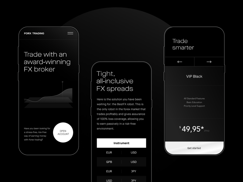 Trading Services Website black app landing ios design clean ux ui