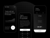 Trading Services Website black app landing ios design clean ux ui