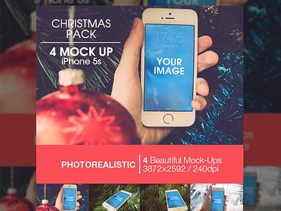 Christmas pack | 4 Mock-up iPhone 5s template mockups mock-ups mockup ios ipad apple psd mock-up