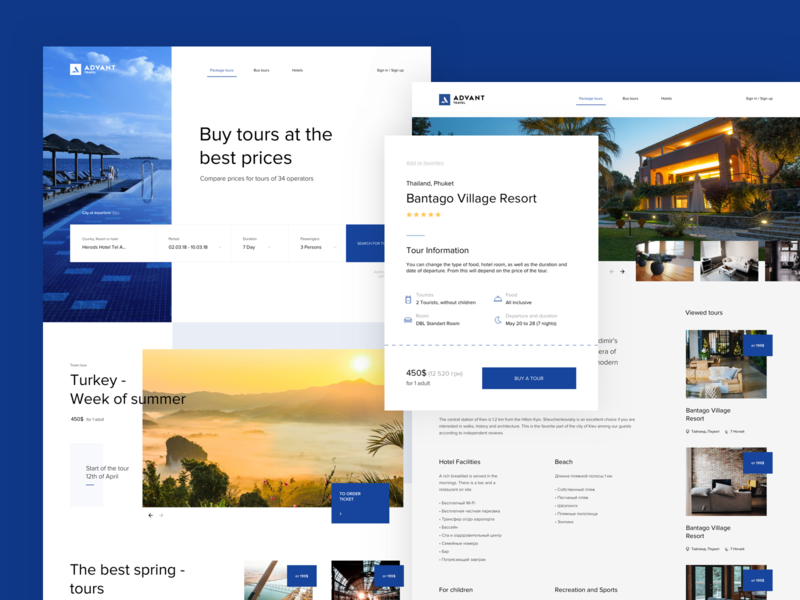 Advant travel travel website landing web design design ux clean web ui