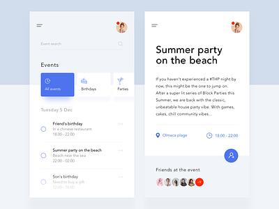 My events event app mobile ios design clean ux ui